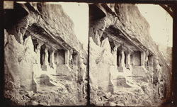 View from the left of the façade of Buddhist vihara, Cave XI, Ajanta